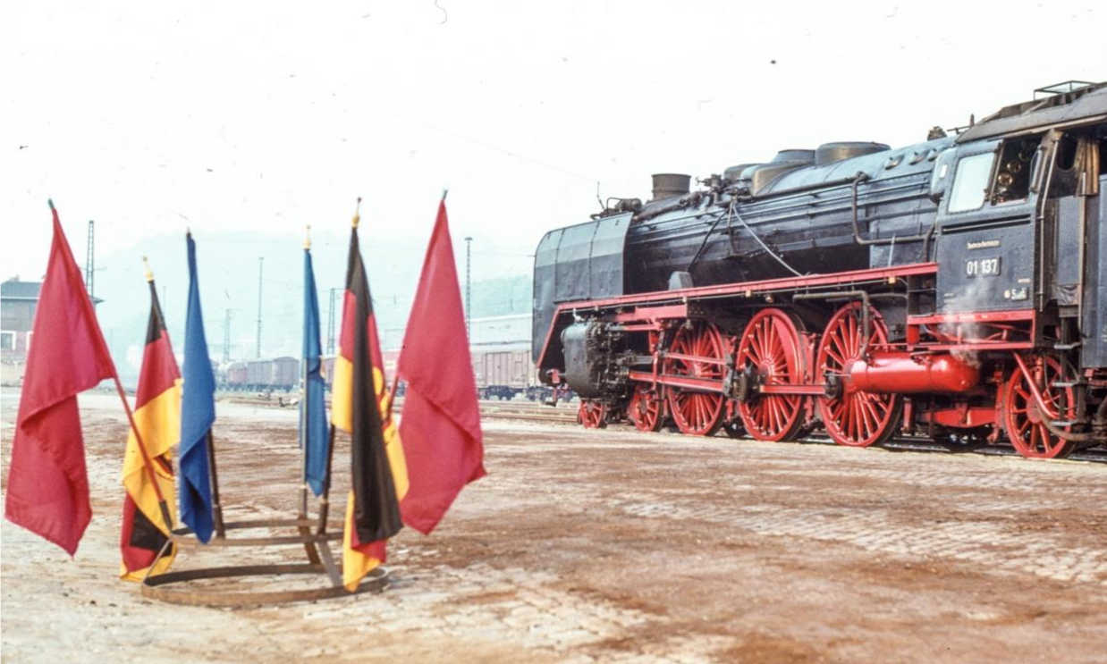 BR 01 01 137 at Freital-Hainsberg, 1983. From A Taste of German Steam